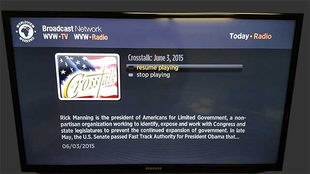 roku channel audio player screen